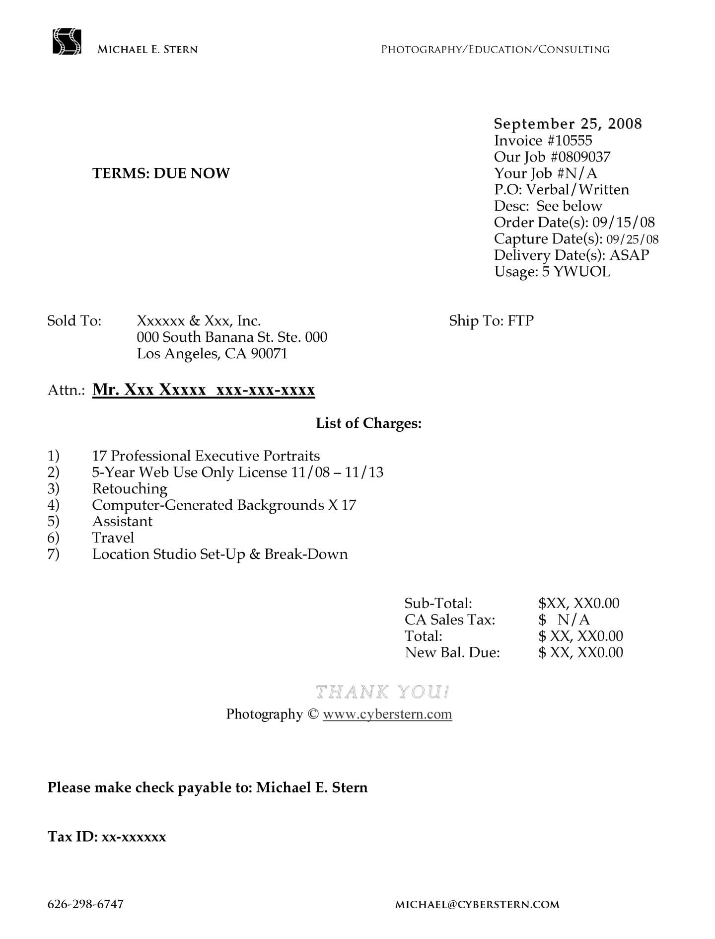Free Photography Invoice Template Download