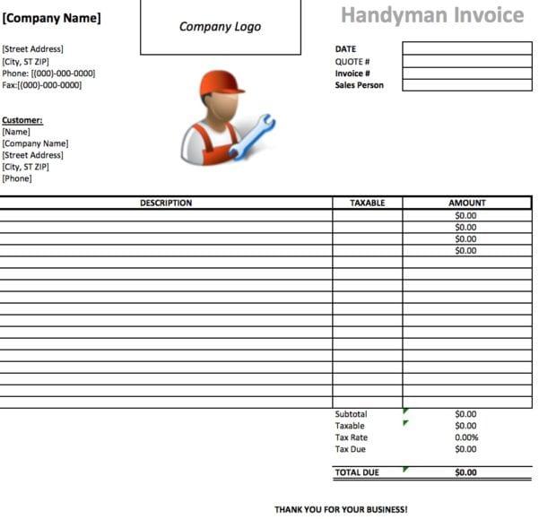 Handyman Invoice Template