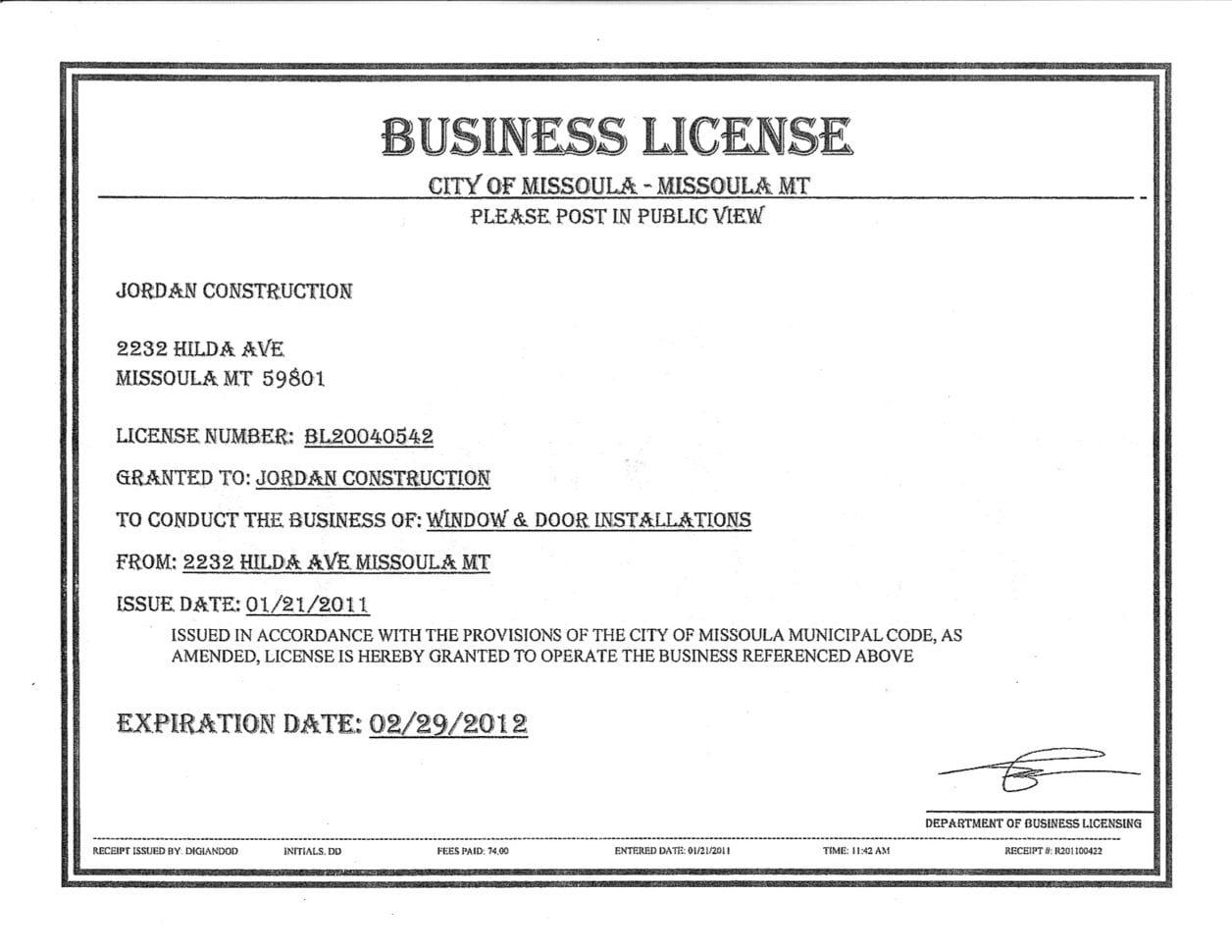 Business Registration License Spreadsheet Templates for ...