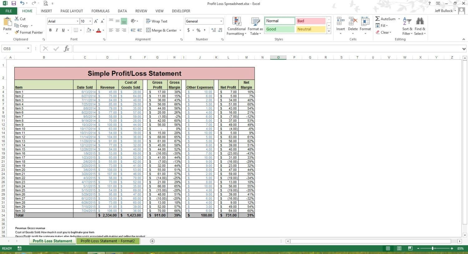 How To Create A Profit And Loss Statement In Excel P&L Spreadsheet Template Spreadsheet Templates for Busines Spreadsheet Templates for Busines Profit And Loss Template Uk