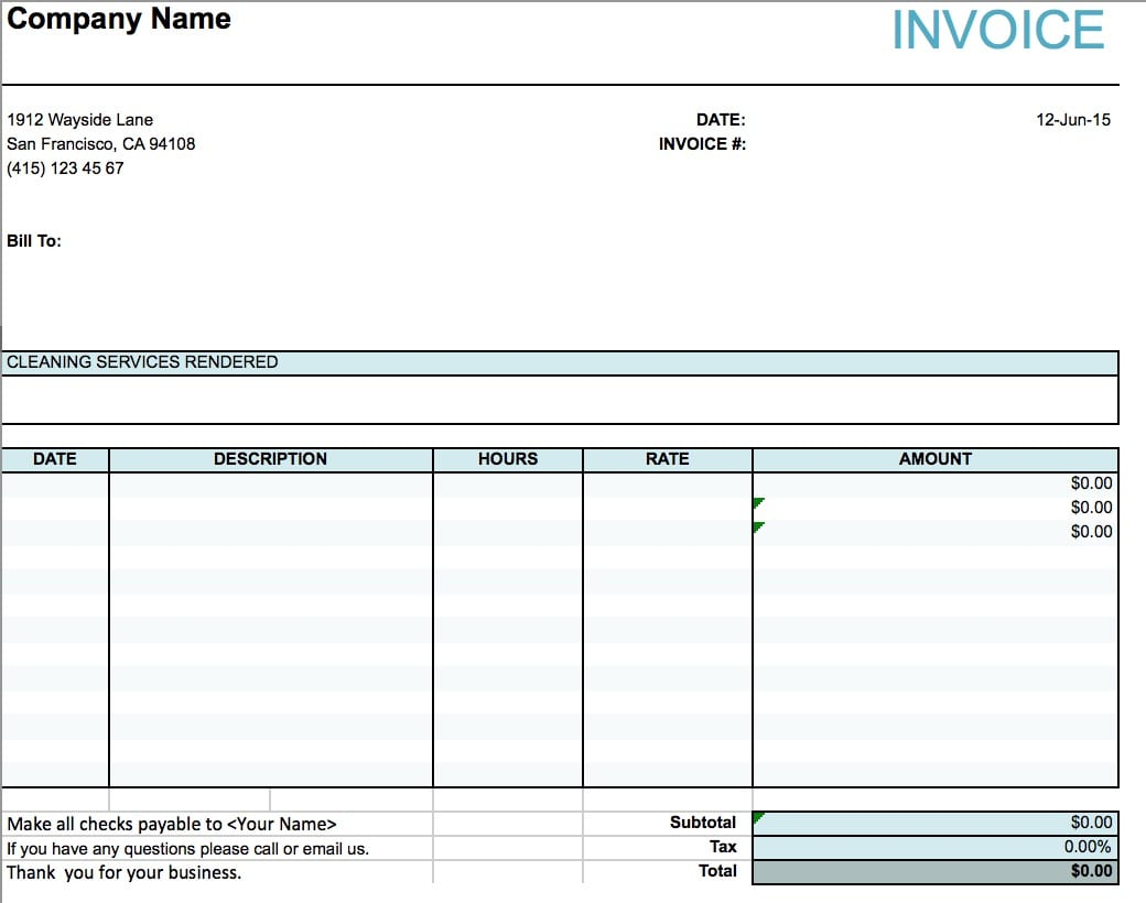 house cleaning service invoice