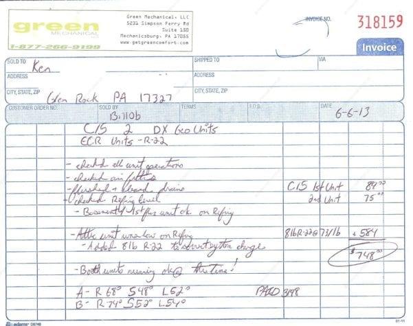 Hvac Invoice Sample