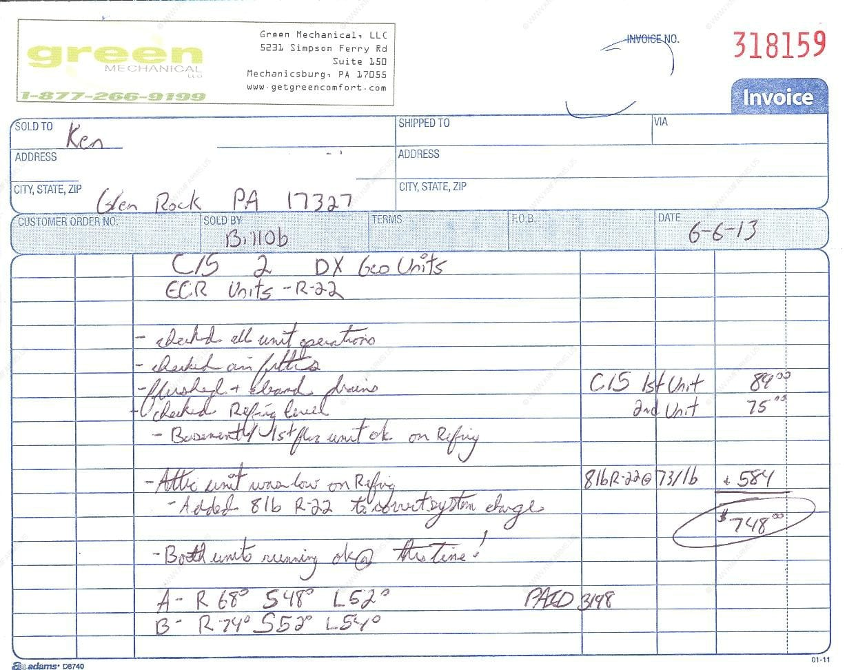 Hvac Invoice Sample