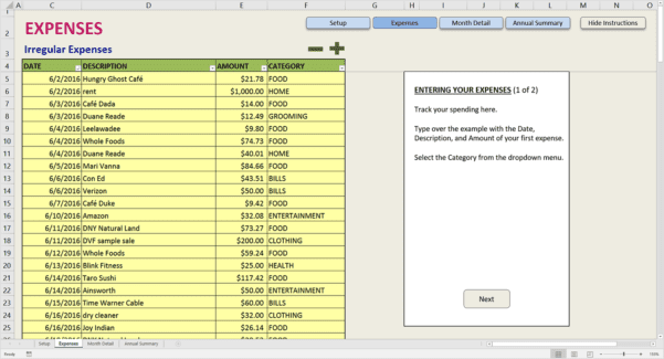 Income Expense Worksheet Excel