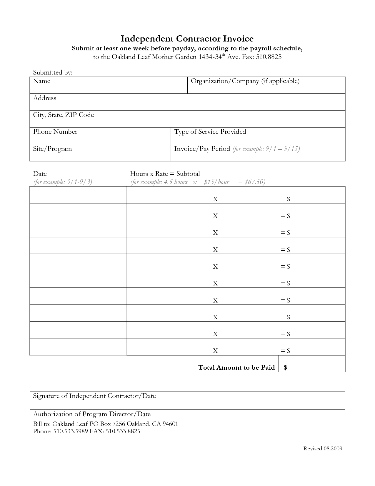 Independent Contractor Invoice Template Excel