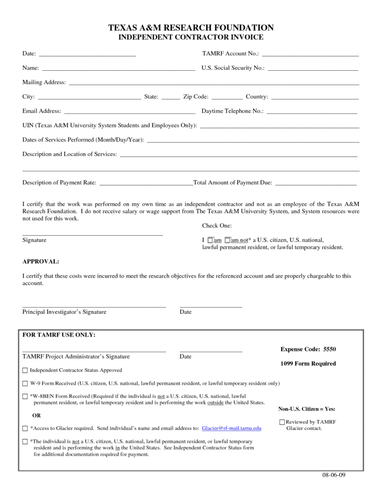 Independent Contractor Invoice Template Pdf