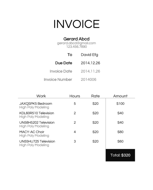 Invoice For Hours Worked