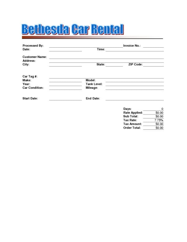 Invoice For Rent Payment