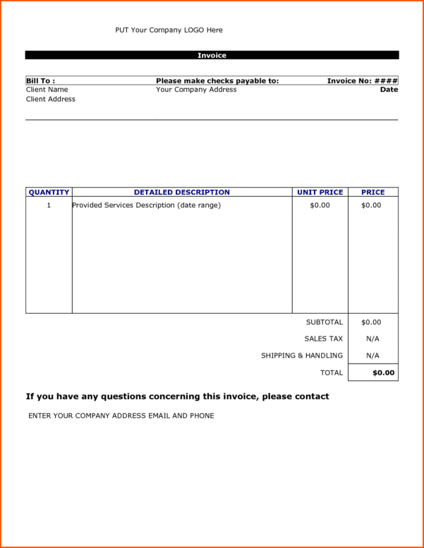 Invoice Template For Microsoft Word 2000