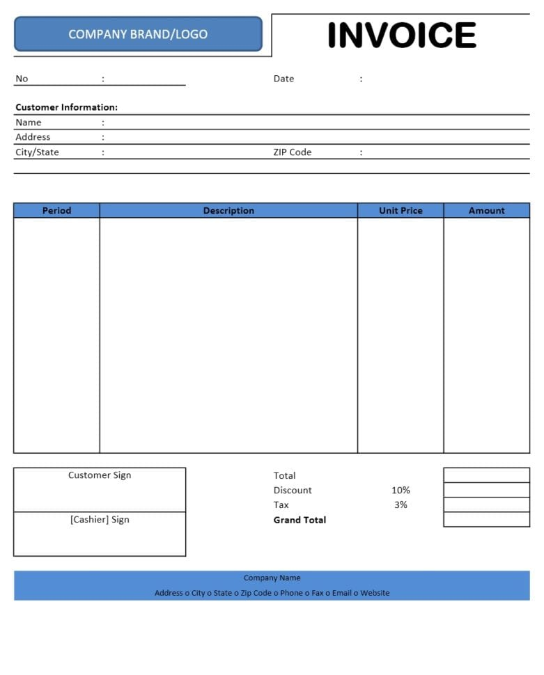 Invoice Template Free 1
