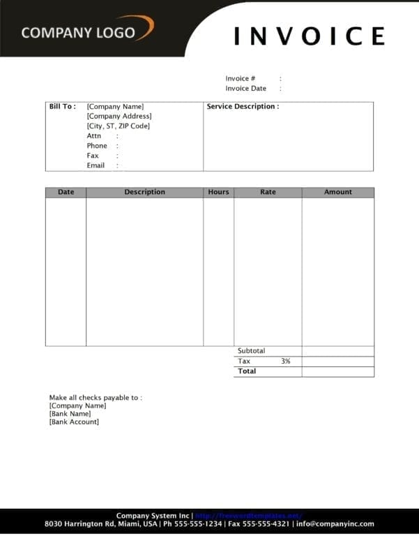 Invoice Template Microsoft Word 2010