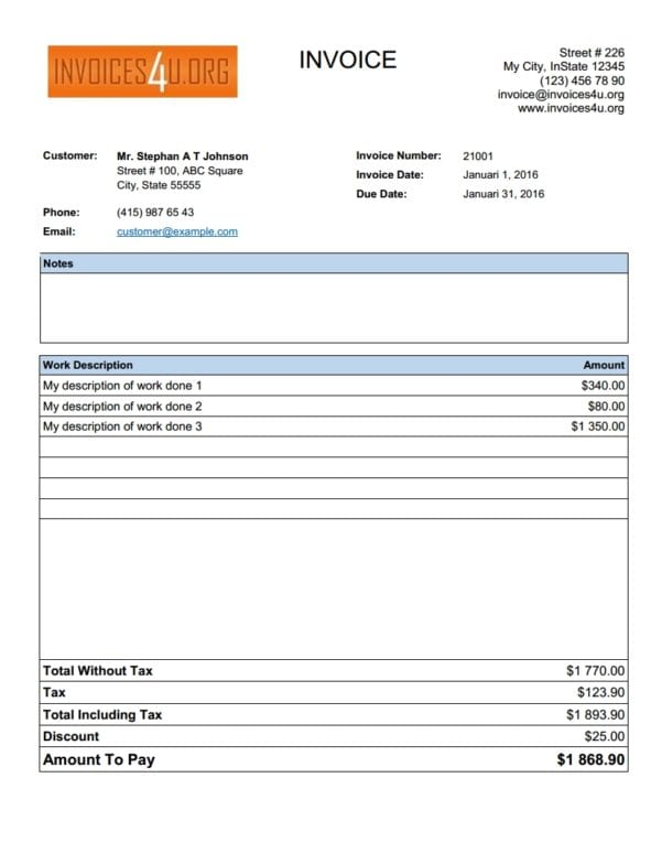 Invoice Template Open Office 1