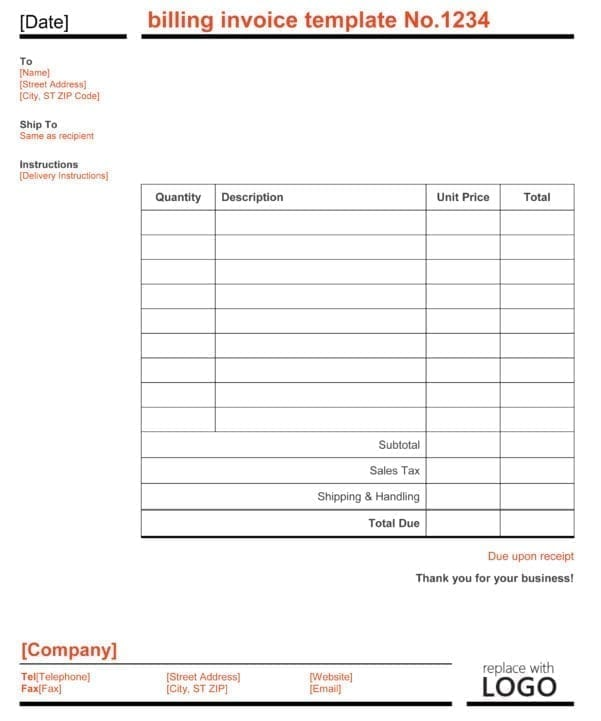 Invoice Templates For Microsoft Word 2003
