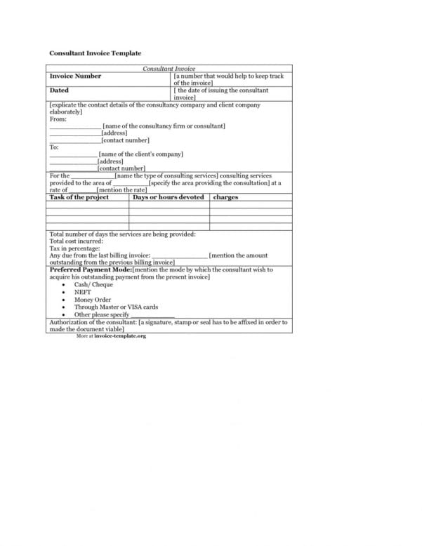 It Consultant Invoice Template
