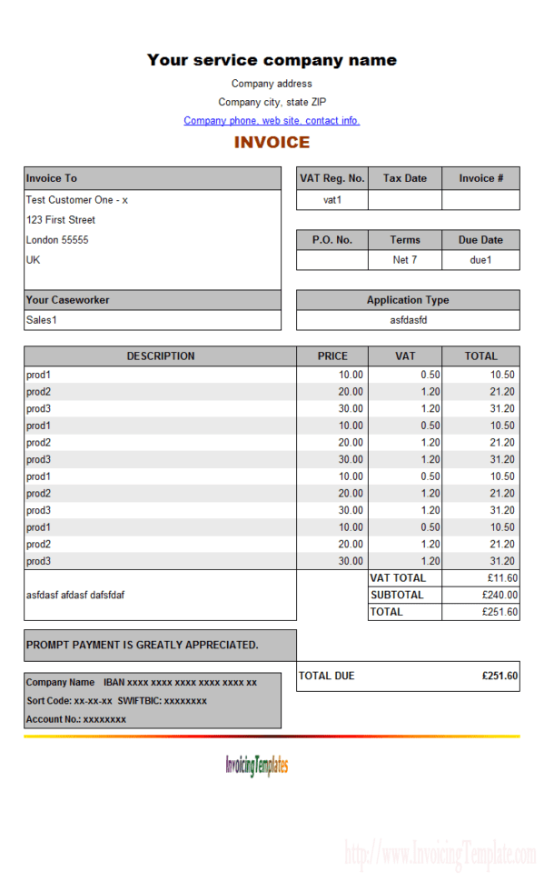 Job Invoice Template Excel