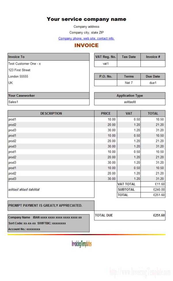 Job Invoice Template Excel