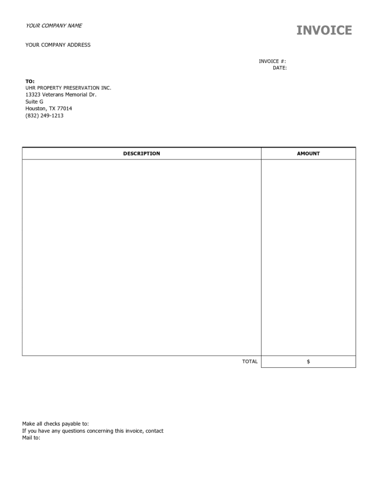 Job Invoice Template Free