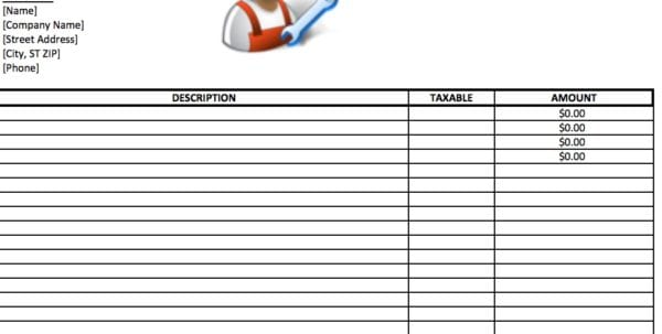 Labour Bill Format In Word General Labor Invoice Spreadsheet Templates for Business