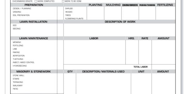 Landscaping Invoice Sample