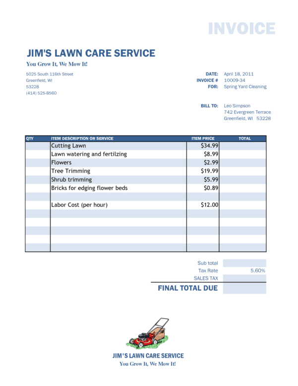 Lawn Care Invoice Template Pdf