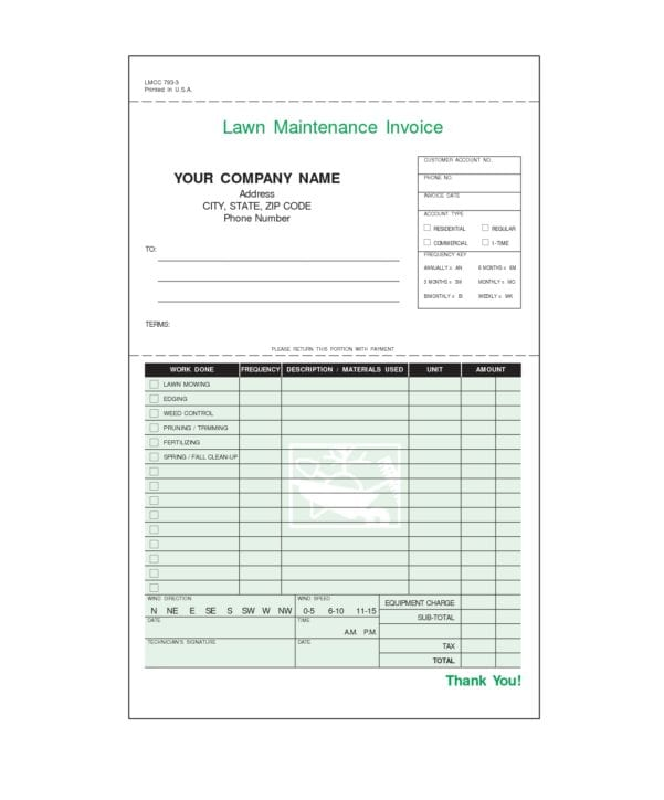 Lawn Maintenance Invoice Forms Lawn Care Invoice Template Spreadsheet Templates for Busines