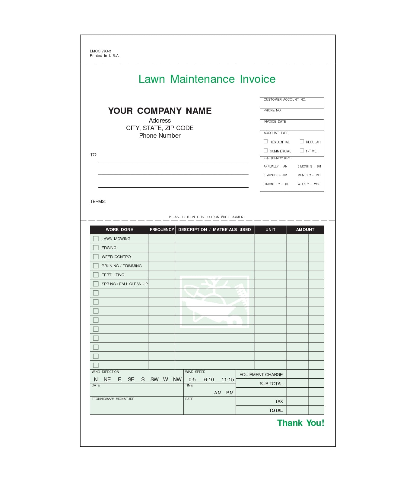 lawn maintenance invoice forms