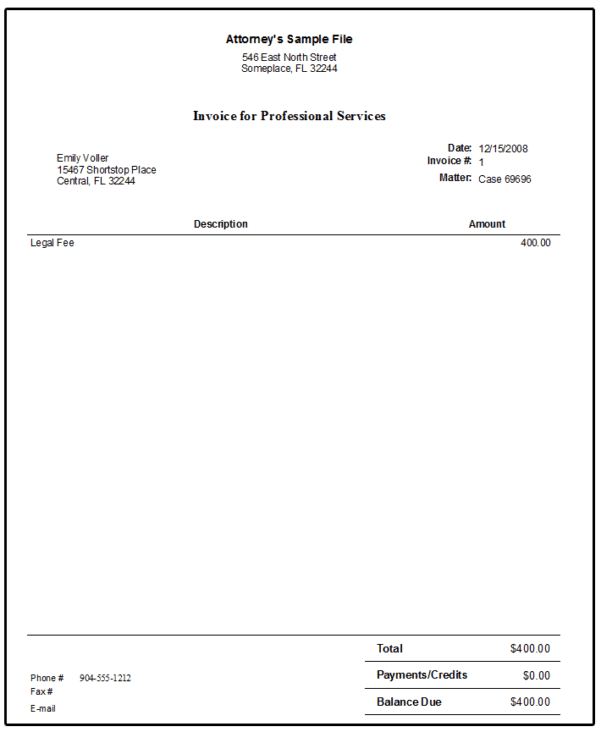 Lawyer Invoice Template Excel