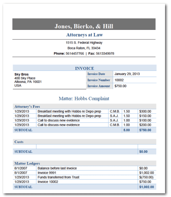 Legal Invoice Template Free