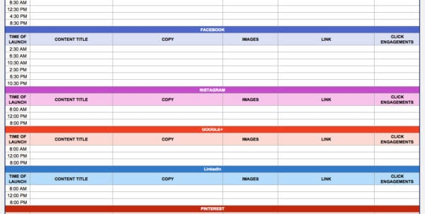Marketing Calendar Template Excel