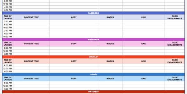 Marketing Calendar Template Excel