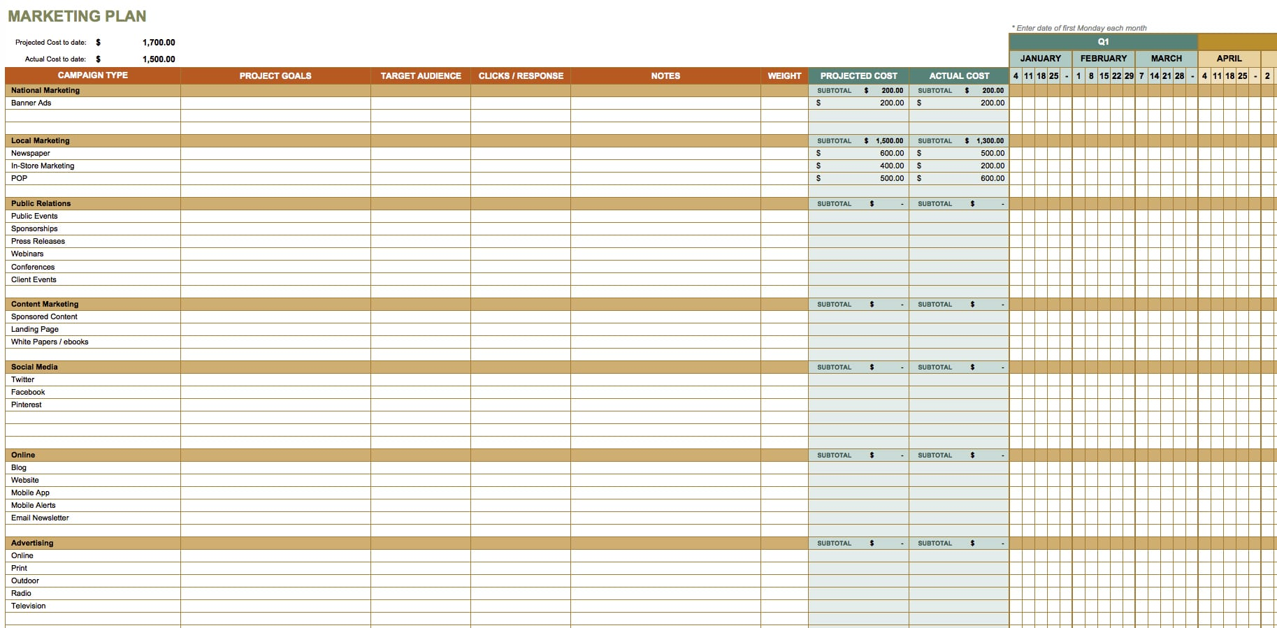 Marketing Contact Spreadsheet