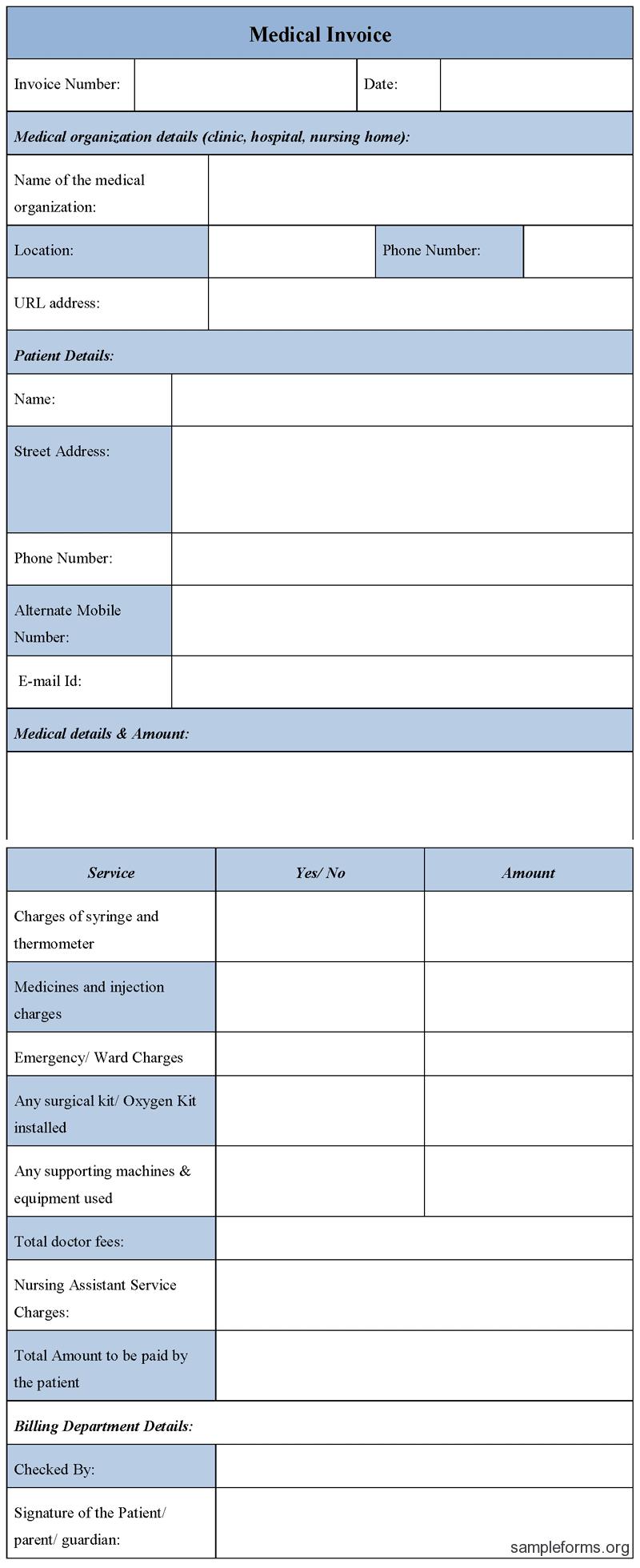 Medical Invoice Template Microsoft