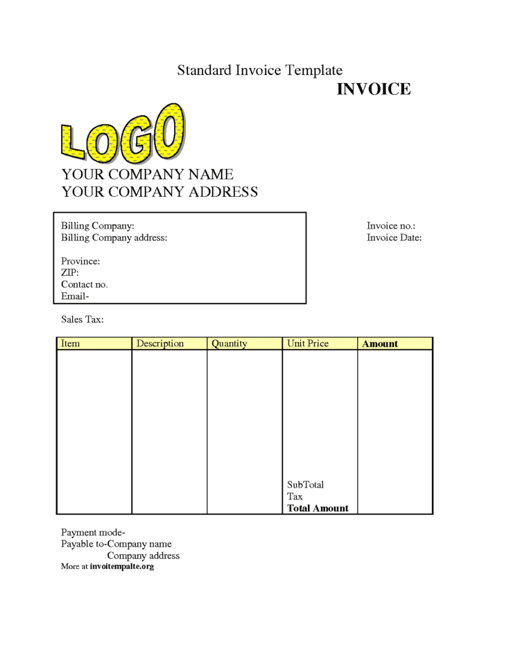 Medical Invoice Template Pdf