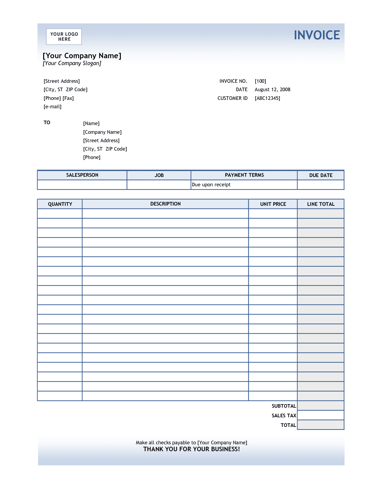 Microsoft Excel Receipt Template