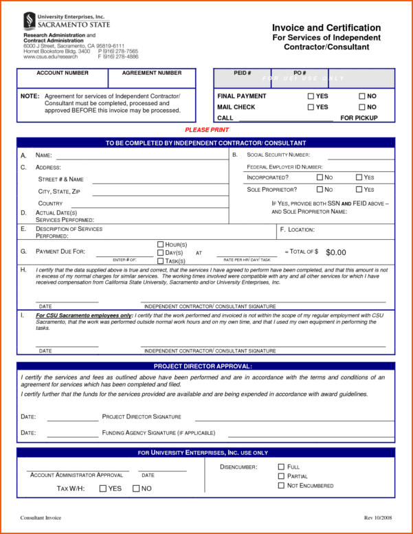 Microsoft Independent Contractor Invoice Template