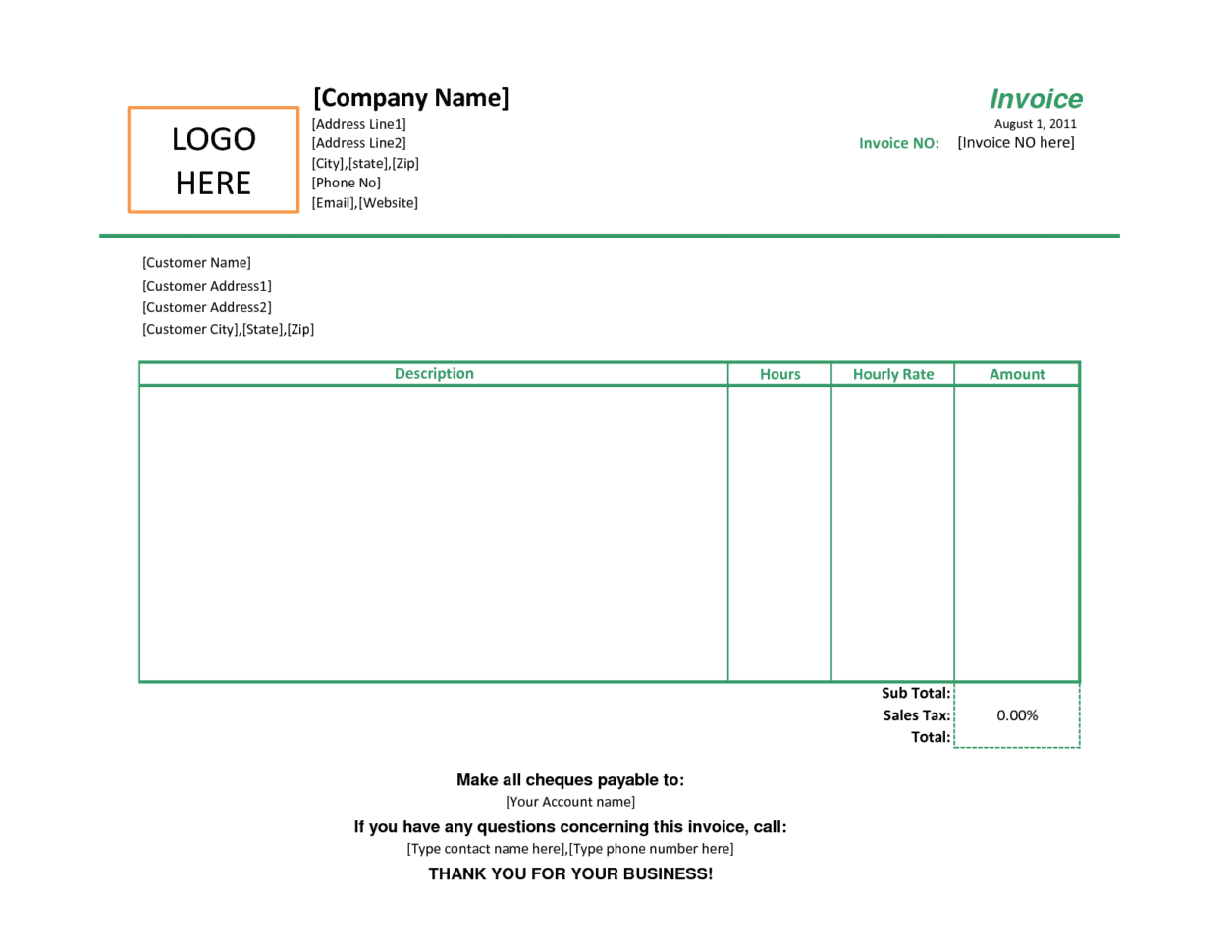Microsoft Publisher Invoice Template