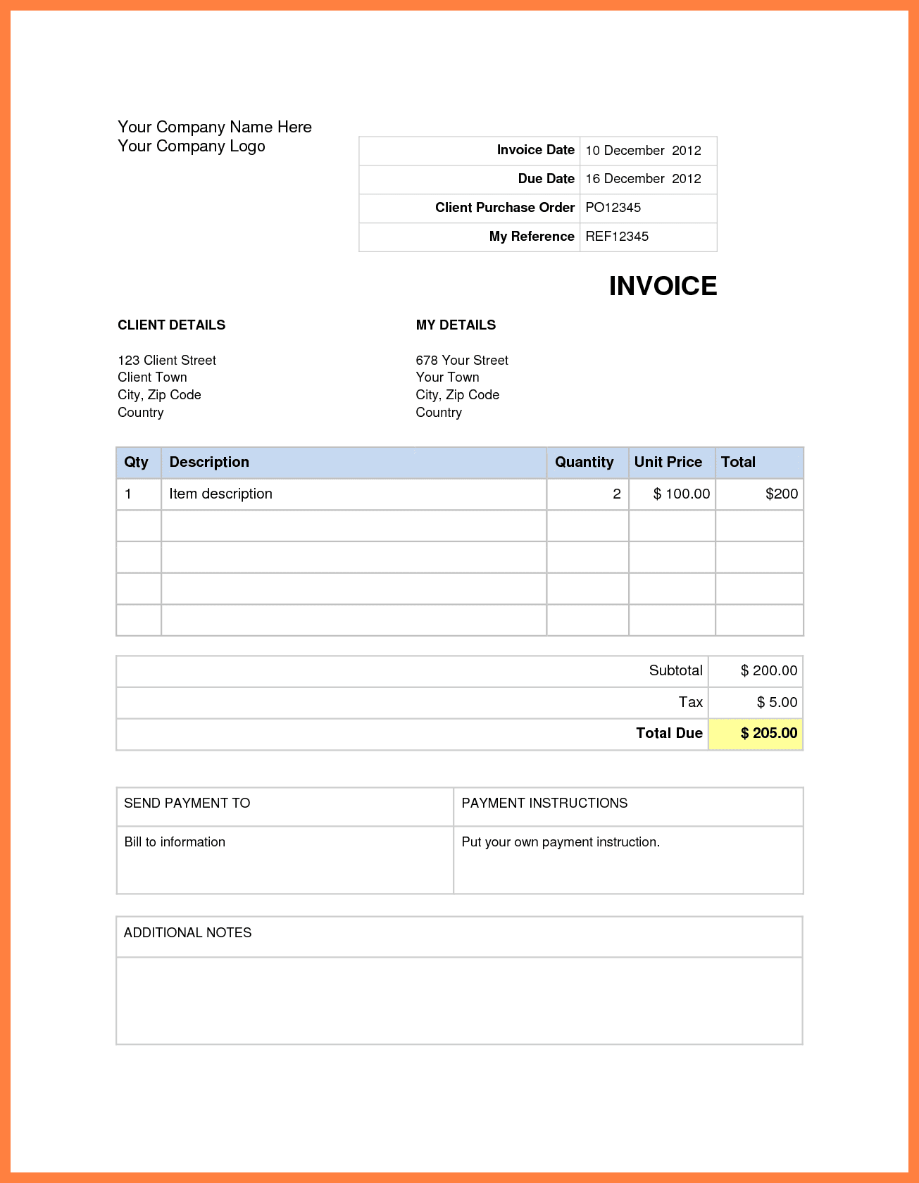 Microsoft Word 2010 Invoice Template
