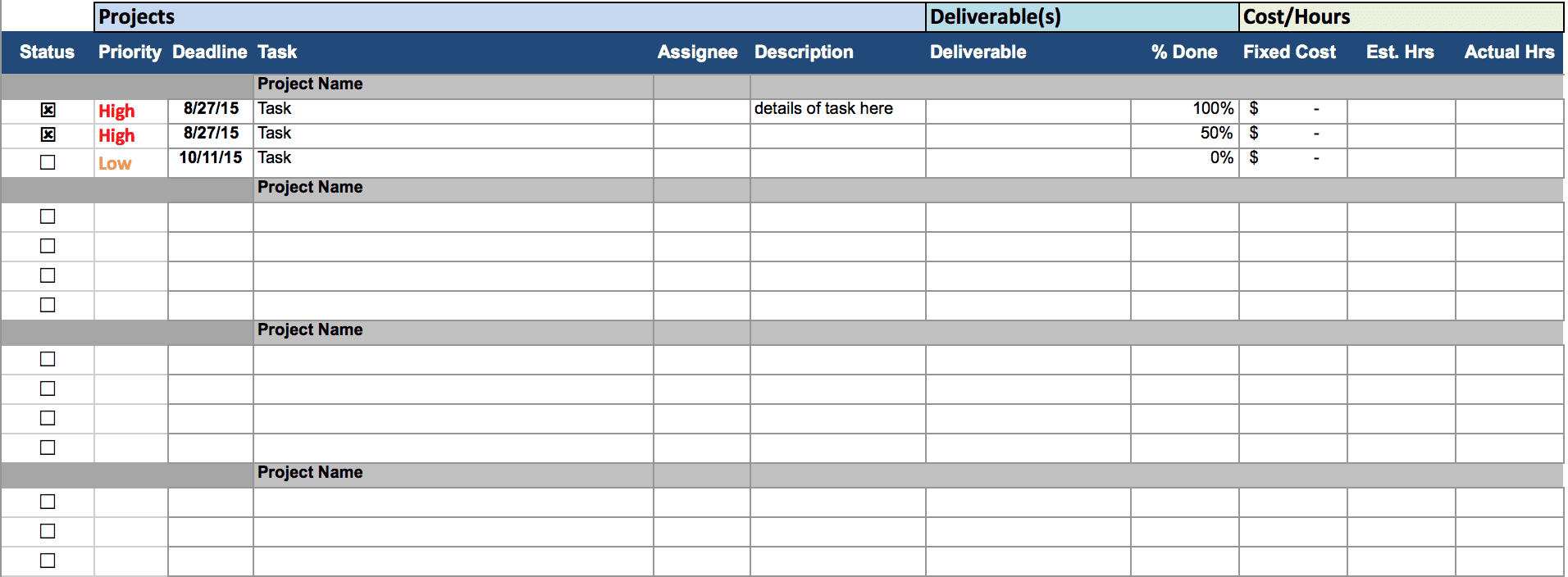 Multiple Project Tracking Template Excel 2