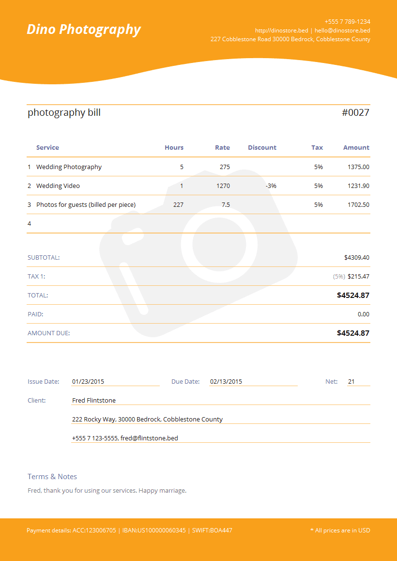 Photographer Invoice Template