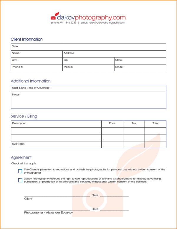 Photography Invoice Template Psd