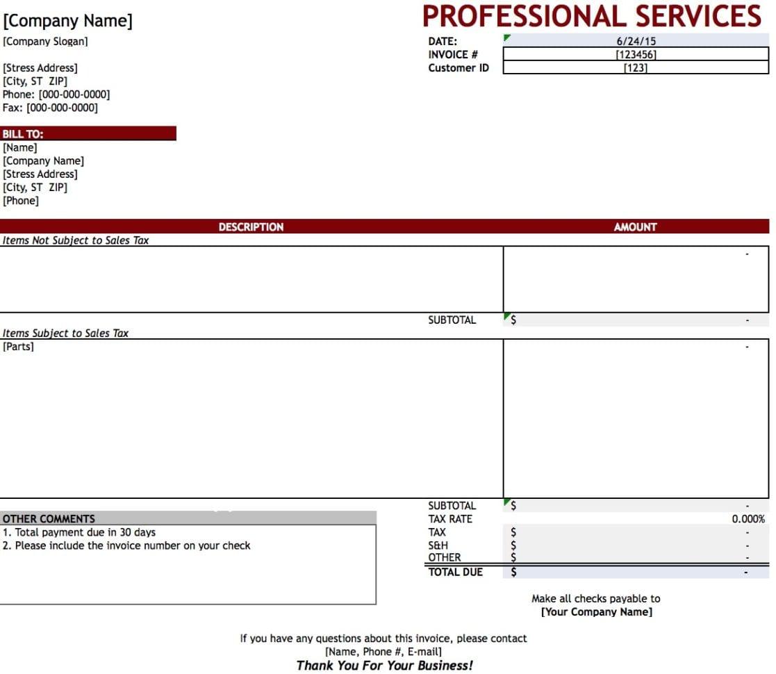 Professional Invoice Template Pdf