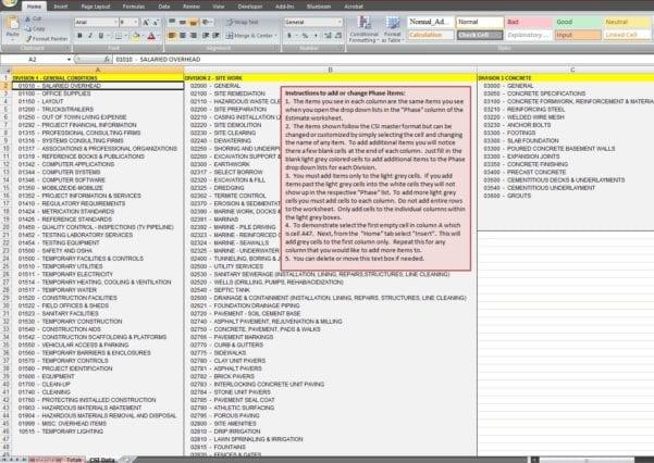 Project Cost Estimate Spreadsheet