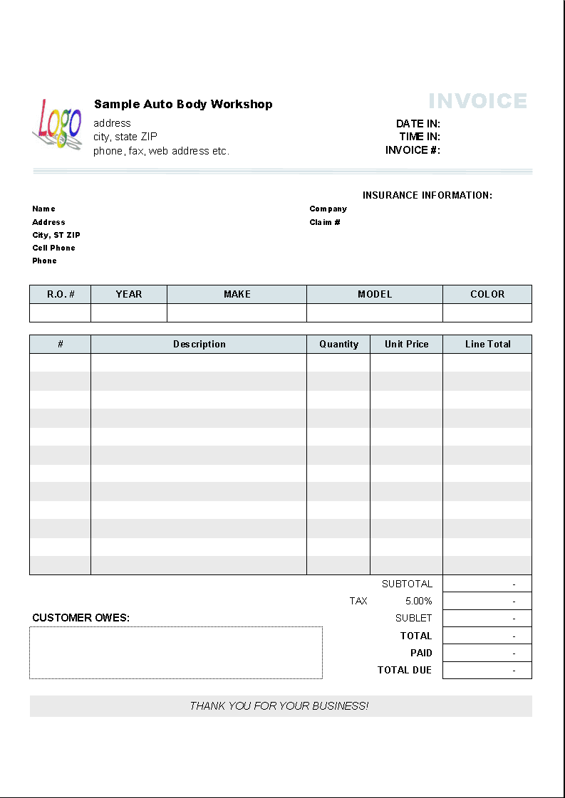 Rental Invoice Template Excel