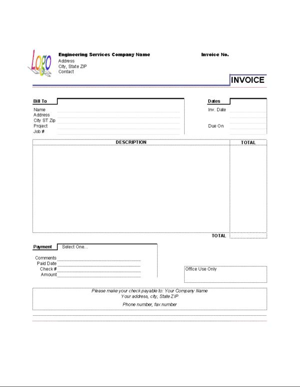 Rental Invoice Template Microsoft