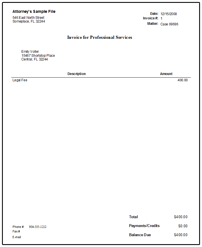 sample legal invoice services rendered