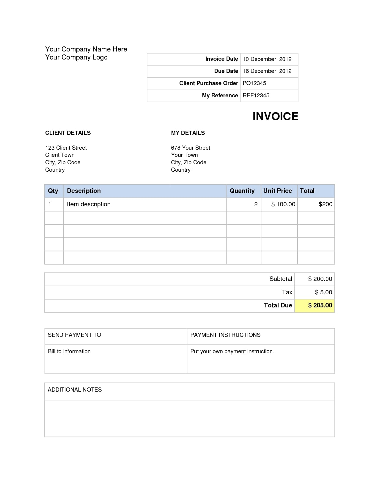 Service Invoice Template Word Download Free