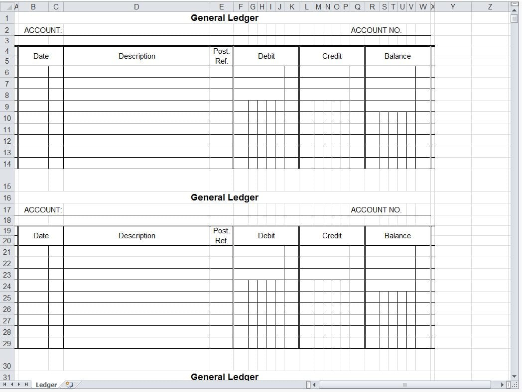 Simple Accounting Spreadsheet Template Free
