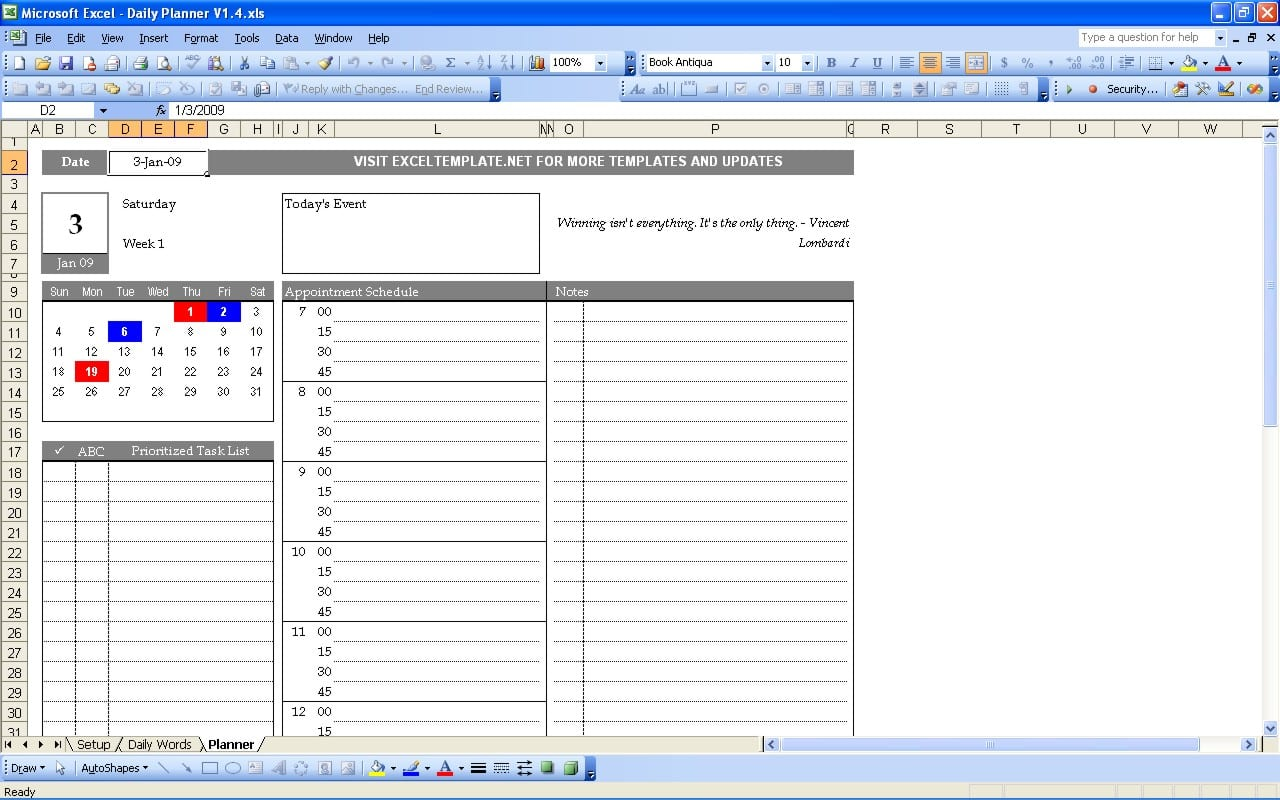 Task List Template Excel