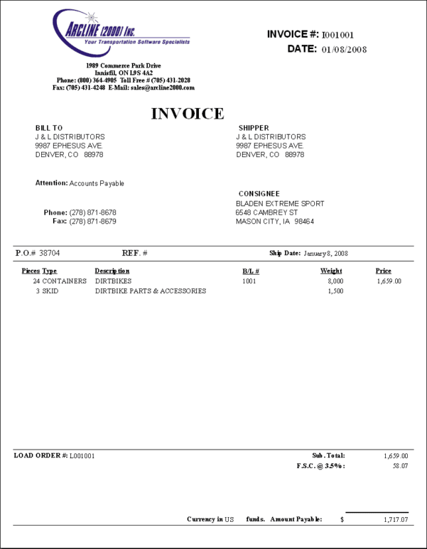 Trucking Invoice Excel