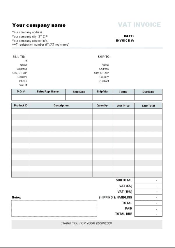 Word Invoice Templates Mac